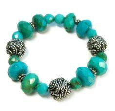 Turquoise Stretch Bracelet, Chunky, Southwest cowgirl, Nevada Blue Gem Turquoise, December Birthstone, Gemstone - product images