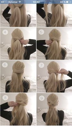 Brautfrisur - beautiful hair styles for wedding Diy Hairstyles, Pretty Hairstyles, Ladies Hairstyles, Easy Ponytail Hairstyles, Hairstyles 2018, Quick Easy Hairstyles, Hairstyles Videos, Easy Updos For Long Hair, Popular Hairstyles