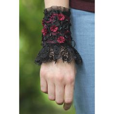 Gothic Bracelet, wrist cuff, black and magenta with lace and flowers,... ($56) ❤ liked on Polyvore featuring jewelry, bracelets, cuff jewelry, flower bangle, cuff bangle, beaded jewelry and bead jewellery