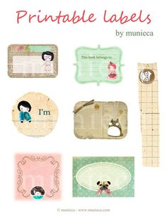 """This is a sheet (8.5"""" X 11"""") of lovely labels / tags illustrated and designed by me, which will be sent to you in *jpg format via e-mail.    These ima"""
