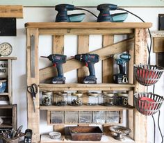 Keep your garage organized with this pallet hack! From Funky Junk Interiors on Remodelaholic. Von Funky Junk Interiors on Remodelaholic. Garage Storage Units, Pegboard Storage, Garage Storage Solutions, Tool Storage, Storage Ideas, Diy Storage, Garage Shelving, Workshop Storage, Storage Design