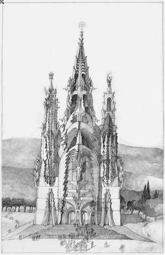 Imre Makovecz (Hungarian, Concept Art for The Holy Cathedral of Saints and Damned, Budapest, 2004 Unbuilt. Organic Architecture, Art And Architecture, Gaudi, Architecture Organique, Princess Castle, Hungary, Budapest, Art Nouveau, Concept Art