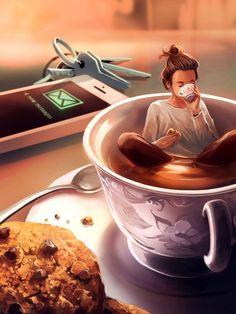 ᐅ Die 99 Besten Bilder von Illustration in 2019 Cyril Rolando Cyril Rolando, Art Anime, Coffee Art, Drawing Coffee, Cute Drawings, Cute Wallpapers, Cute Art, Art Girl, Art Sketches