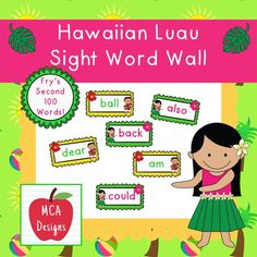 My Hawaiian Luau sight word wall posters feature Fry's second 100 words. 53 pages of tropical sight words to brighten your classroom!