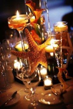Starfish centerpiece for beach wedding, floating candle beach wedding table decor idea