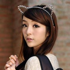 Faux-Pearl Ear-Accent Hairband Gray - One Size