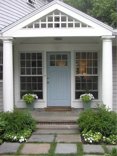 Charming door color with the gray exterior from House of Turquoise Exterior House Colors, Exterior Doors, Exterior Design, Gray Exterior, Gray Siding, House Of Turquoise, Turquoise Door, Porches, Style At Home