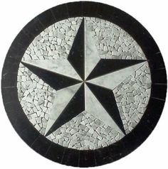 Tile Floor Medallion Marble Black & White Mosaic Texas Star Cowboys Would like something like this for the entryway tile Deco Marine, Mosaic Tile Art, Pot A Crayon, Texas Star, Stone Cladding, New Home Designs, Bad, Tile Floor, Flooring