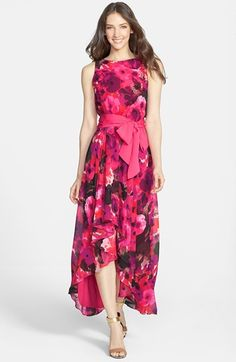 Eliza J Print High/Low Chiffon Dress available at #Nordstrom
