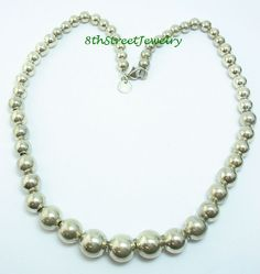 """Tiffany & Co Graduated Beads Sterling Silver 925 Necklace 16"""" end to end #TiffanyCo #Beaded"""