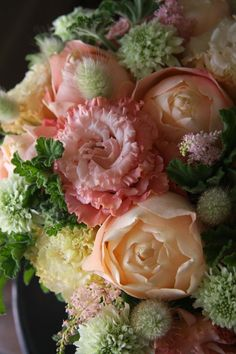 Frilly and soft this floral bouquet is so beautiful. All Flowers, Fresh Flowers, Wedding Flowers, Floral Bouquets, Floral Wreath, Beautiful Roses, Flower Decorations, Flower Power, Floral Arrangements