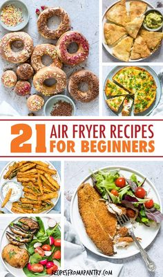 This collection of the 21 Best Air Fryer Recipes For Beginners includes main dishes, snacks, sides and sweets that are super quick, simple and easy to make. Air Fryer Recipes Snacks, Air Fryer Recipes Vegetarian, Air Fryer Recipes Low Carb, Air Fryer Recipes Breakfast, Air Fryer Dinner Recipes, Lunch Recipes, Appetizer Recipes, Healthy Recipes, Easy Recipes