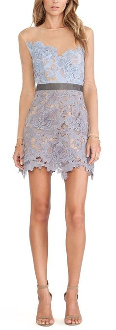 Lavender Lace and Nude Sheer Dress