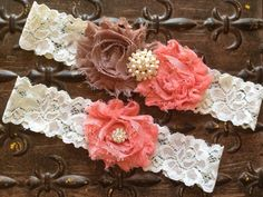 Coral Wedding Garter Wedding Garter Set Taupe by TheRaggedDiamond, $20.00