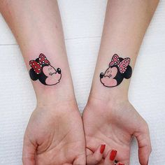 Matching Minnie Mouse Wrist Tattoos for Sisters or BFF's