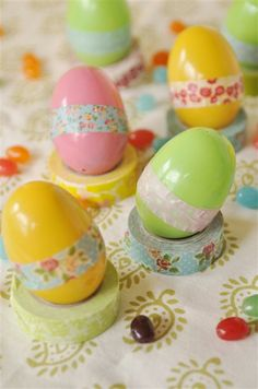Washi eggs... Use washi tape to seal the edges of plastic Easter eggs