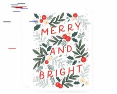 Merry and Bright Christmas Cards Set of 8 Modern Illustrated Holiday Cards, Christmas Cards, Xmas, Crown Art, Christmas Illustration, Floral Crown, Merry And Bright, Hand Painted, Watercolor