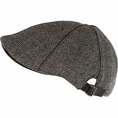 Grey tweed flat peak cap