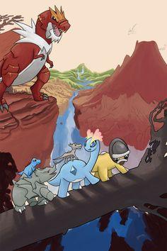 Land before time pokémon style Pokemon Rayquaza, Pokemon W, Pikachu, Pokemon Comics, Pokemon Fan Art, Mudkip, Pokemon Stuff, Pokemon Images, Pokemon Pictures