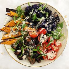 recipe by Kanchan Koya Vegetable Recipes, Vegetable Pizza, Oven Roasted Sweet Potatoes, Healthy Drinks, Healthy Recipes, Tahini Dressing, Tasty, Yummy Food, Quick Easy Meals