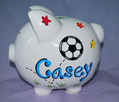 A penny saved is a penny earned…   Hand painted Personalized Large Ceramic Piggy Bank makes an ideal gift for baby shower, newborn, first