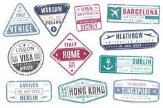 Airport Stamps Vintage Travel Passport Visa Immigration Arr