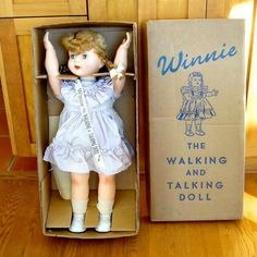 Vintage Winnie the Walking and Talking Mechanical Doll from cache…