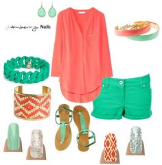 Love these Jamberry Nails with this summer outfit! Coral and Jade green! I die. nailliciousss.jamberrynails.net