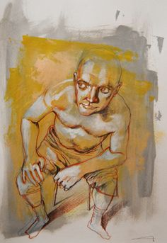 "Saatchi Online Artist michele petrelli; Drawing, ""Sitting man"" #art"