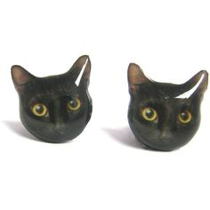 Cute Black Cat Kitten Stud Earrings - A14E84 Mad e To Order (€17) ❤ liked on Polyvore featuring jewelry, earrings, accessories, cats, nickel free stud earrings, bubble earrings, stud earrings, dog earrings and i love jewelry
