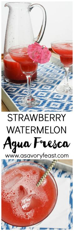 Celebrate Cinco de Mayo with this fruity, non-alcoholic drink! Strawberry Watermelon Agua Fresca is a delicious drink for all ages.
