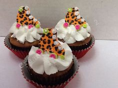 LEOPARD SKATES - Fondant Roller Skate Cupcake, Cake and Cookie Toppers with Green, Pink and White Accent