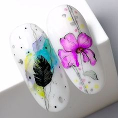 Watercolor Nail art - New Ideas Nail Art Designs Videos, Simple Nail Art Designs, Easy Nail Art, Nail Designs, Butterfly Nail, Flower Nail Art, Spring Nails, Summer Nails, Cute Nails