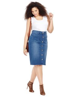af1b44c9d31 Button Front Skirt In Apollo Wash Button Front Skirt