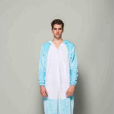 Adult Pajamas Animal Blue Rabbit Flannel Kigurumi Pajamas
