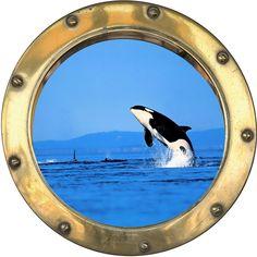 Sticker Trompe l oeil Hublot ORQUE vue sous marine