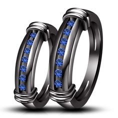 925 Sterling Silver Black Rhodium Plated Blue Sapphire Hand Made Engagement Band Ring Set Make For Order by BACIO2GIOIELLI on Etsy