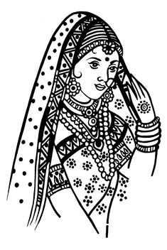 Tamil Cliparts: Printing Line art - Wedding and invitations ) Pencil Sketch Images, Abstract Pencil Drawings, Ancient Indian Paintings, Indian Art Paintings, Kalamkari Painting, Madhubani Painting, Cute Flower Drawing, Wedding Symbols, Wedding Drawing