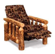 Amish Rustic Log Cabin Recliner Capture the log cabin look in this popular recliner built in Amish country. #logfurniture
