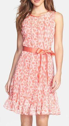 Nordstrom  Eliza J Print Pintuck Chiffon Fit & Flare Dress (Petite)