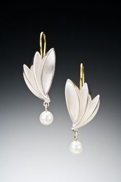 Bird of Paradise Drop Earrings Cast with Pearl