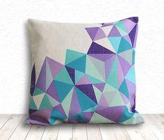 Geometric Pillow Cover, Pillow Cover, Pillow Cover Geometric, Linen Pillow Cover, 18x18 - Printed Geometric - 103