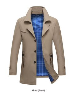 a3b68dc9064fc Holyrising Trench Coat Men Casual Windbreaker Turn Collar Overcoat Single  Button Male Fashion Jackets Confortable Cloths