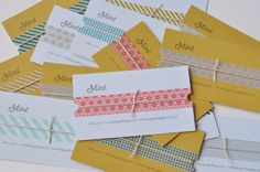 simple business cards embellished with washi tape and string