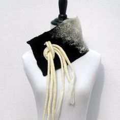 Nuno Felted Scarf in Black and White With Mohair Locks. Felt Collar with Dreadlock Ties. Wearable Art Scarf in Silk and Superfine Merino.