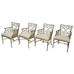 Set of Four Vintage Metal Bamboo Armchairs by Phyllis Morris