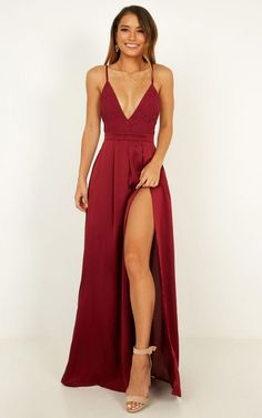 This is the sweetest little maxi dress you can find. Our Inspired Tribe Maxi Dress is the perfect piece for those hot summer evenings. Wear it out to drinks or maybe to a few celebrations, complete the look with some heels and a cute clutch. Prom Dress Two Piece, Prom Dress Black, Dress Up, Simple Prom Dress, Slit Dress, Red Satin Prom Dress, Maroon Prom Dress, Wine Dress, Sexy Long Dress