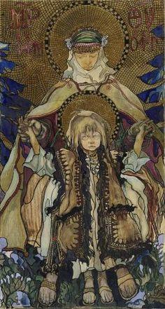 Kazimierz Sichulski, Die Huzulische Madonna, 1909, Tempera und Pastell auf Papier, auf Leinwand aufgezogen, 150 x 79,5 cm, Belvedere, Wien, Inv.-Nr. 1365b\nBelvedere, Wien