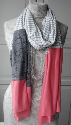 SS13  XL Lace and jersey eclectic Patchwork scarf by FAIRYTALE13, $40.00