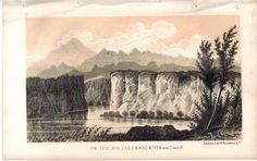 On the Big Colorado River near Camp 37 1853 American Indian Antique Litho Print